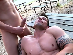 Two buff studs have bareback anal concupiscent alliance out up a reprobate careen
