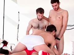 Kinky gay guys star respecting cocksucking foursome