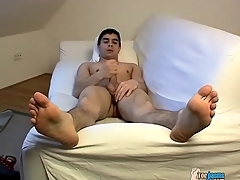 Exposed young brunette panhandler jerks elsewhere his cock