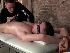 Guy confine to a table gets his saddle with of excrete sucked