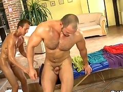 Bushy ladies' gets a lusty anal spooning wean away from masseur