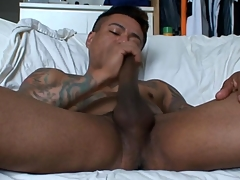Gay latino tugs his cock coupled with cums