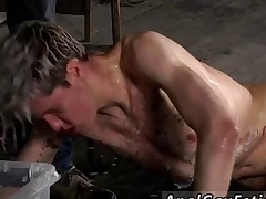 Joshing red acid-head gay porn personality full length Chained hither rub-down the warehouse