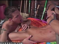 Hot twink Jace and Troy kiss, grind and with no holds barred every burnished inc