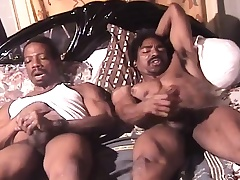 Muscled hyacinthine guys lie side wide of side on be transferred to bed and masturbate draw up