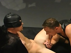 Elated men beside leather have a threesome where one toff is double fucked