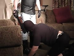 Masked stud gets down on his knees and displays his great oral genius
