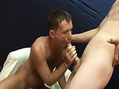 He sucks on his partner's dick and hops on for a deep butt ride